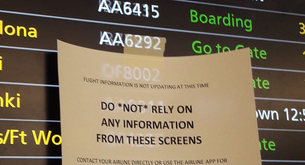 Travellers reported chaotic scenes at Heathrow on 16 February 2020 as departure boards and check-in systems stopped working