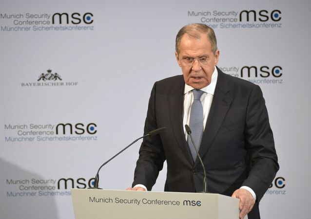 Russian Foreign MInister Sergei Lavrov at the Munich Security Conference, February 2020