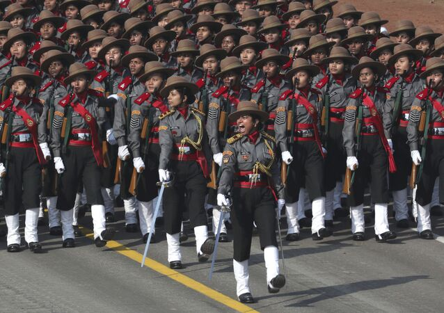 A women's contingent of the paramilitary Assam Rifles participate for the first time at the Republic Day parade in New Delhi, India, Saturday, Jan. 26, 2019