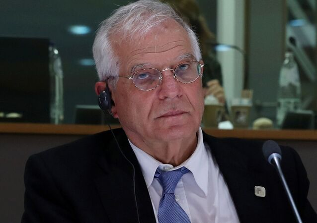 High Representative of the European Union Josep Borrell waits before a meeting of the EU-Western Balkans Summit at the EU headquarters in Brussels Belgium February 16, 2020