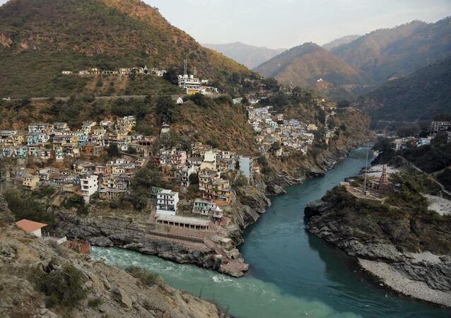 A view of Devprayag, Uttarakhand state, India, Saturday, Dec. 14, 2013. Thousands of people were killed and equal numbers of people went missing after devastating floods, cloud burst and landslides struck in June 2013 in northern Indian state of Uttarakhand.