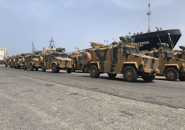 A photo posted on the Facebook Page of the media bureau of the Volcano of Anger operation on 18 May 2019, reportedly shows Turkish-made armoured personnel vehicles, shipped to Libya's internationally recognised Government of National Accord (GNA), arriving at Tripoli port