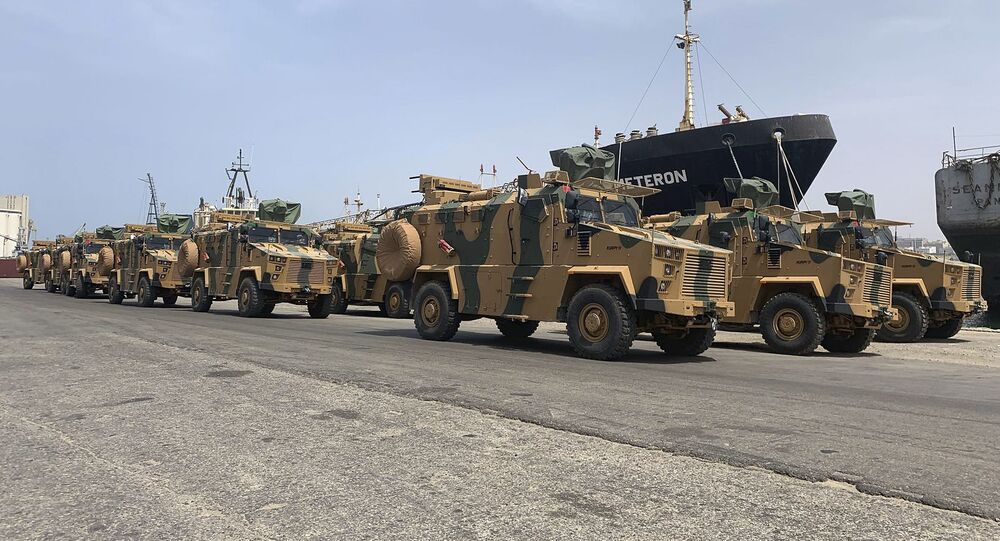 A photo posted on the Facebook Page of the media bureau of Volcano of Anger operation on May 18, 2019, reportedly shows Turkish-made armoured personnel vehicles, shipped to Libya's internationally recognised Government of National Accord (GNA), arriving at Tripoli port