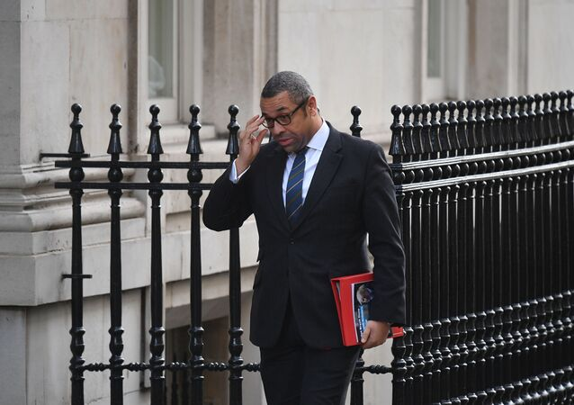 Britain's Minister without Portfolio and Conservative Party Chairman James Cleverly arrives for a meeting of the cabinet at 10 Downing Street in London on February 11, 2020