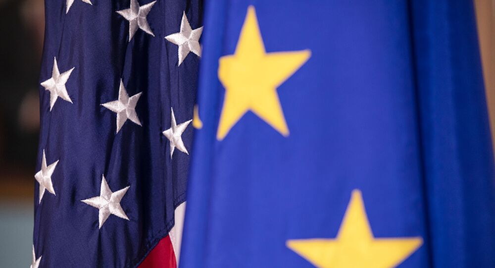 WASHINGTON, DC - FEBRUARY 07: The European Union and United States flags on display before a meeting with US Secretary of State Mike Pompeo and EU High Representative For Foreign Affairs And Security Josep Borrell Fontelles at the US Department of State on February 7, 2020 in Washington, DC.