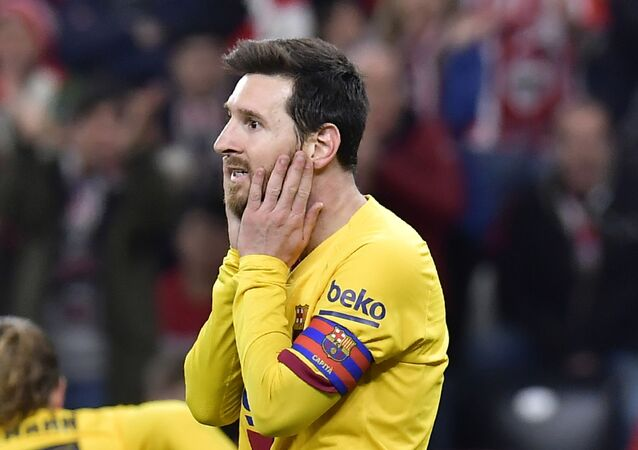 Barcelona's Lionel Messi reacts after a missed scoring opportunity during the Spanish Copa del Rey