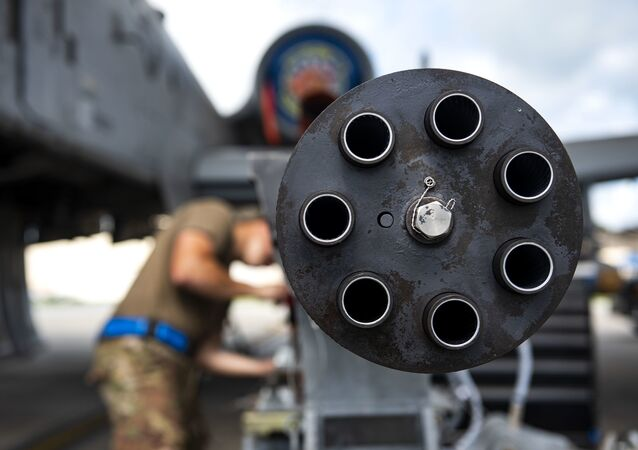 A 30mm GAU-8 Gatling Gun system gets secured during unscheduled maintenance, July 23, 2019, at Moody Air Force Base, Ga. Unscheduled maintenance occurs when discrepancies are discovered with A-10C Thunderbolt II weapon systems