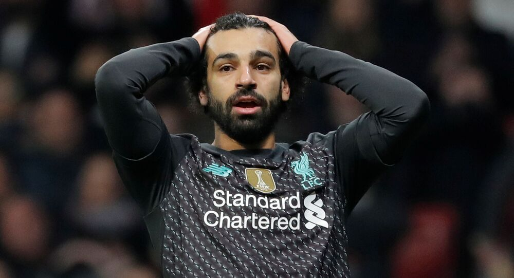 Soccer Football - Champions League - Round of 16 First Leg - Atletico Madrid v Liverpool - Wanda Metropolitano, Madrid, Spain - February 18, 2020  Liverpool's Mohamed Salah reacts after a missed chance