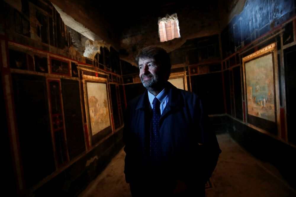 Dario Franceschini, Italian Culture Minister, looks on in one of three restored domus (ancient houses) that has reopened to the public at the archaeological site of Pompeii, Italy, 18 February 2020.