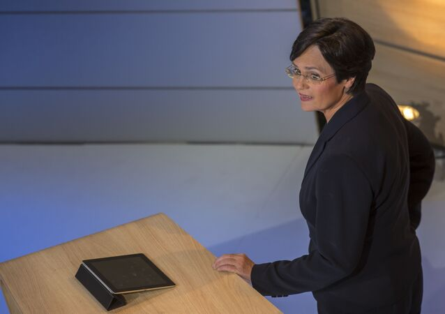 Christine Lieberknecht, top candidate for the Christian Democrats CDU in Thuringia attends a TV show after the results of the exit polls are announced on TV at an election party in Erfurt, eastern Germany on September 14, 2014