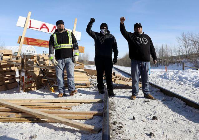 Supporters of the indigenous Wet'suwet'en Nation's in Edmonton, Alberta, Canada