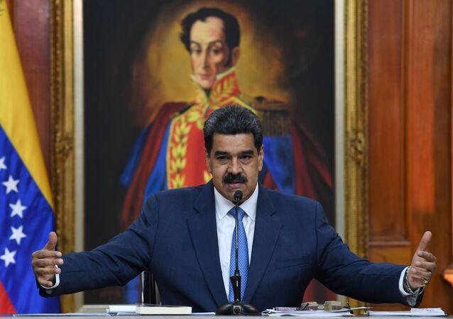 Venezuela's President Nicolas Maduro at Miraflores palace in Caracas