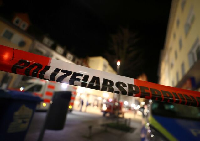 Police tape is seen in the area after a shooting in Hanau near Frankfurt, Germany, February 20, 2020.