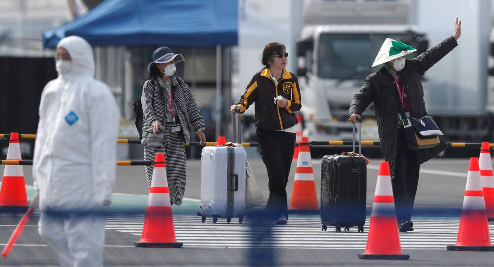 A passenger from the coronavirus-hit Diamond Princess cruise ship at Yokohama Port