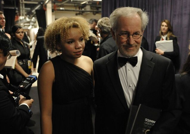 Steven Spielberg and daughter Mikaela George Spielberg are seen backstage at the 81st Academy Awards Sunday, Feb. 22, 2009, in the Hollywood section of Los Angeles