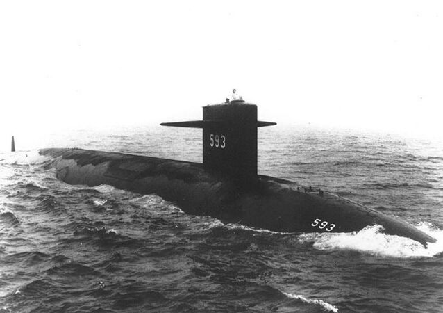 USS Thresher (SSN-593) Starboard bow view, taken at sea on 24 July 1961