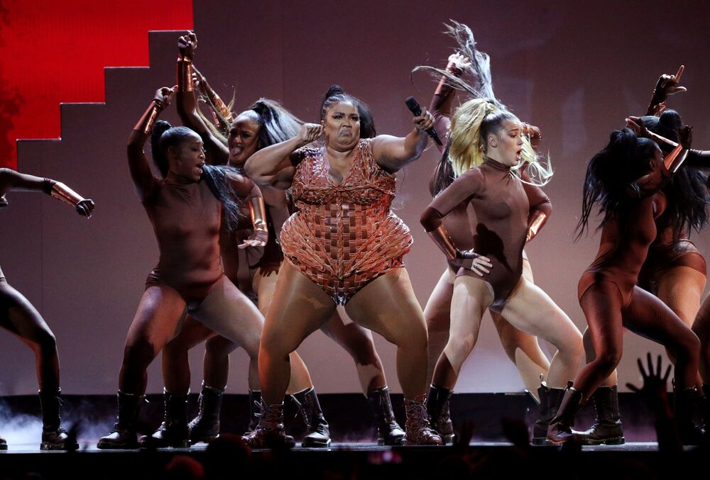 Lizzo performs at the Brit Awards at the O2 Arena in London, Britain, February 18, 2020