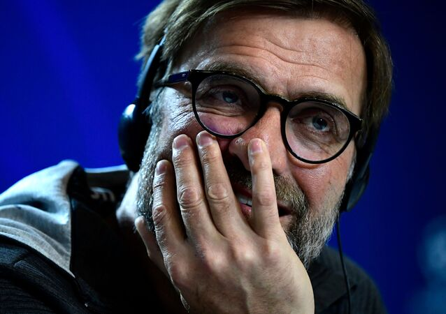 Liverpool's German manager Jurgen Klopp holds a press conference at the Wanda Metropolitano stadium in Madrid on February 17, 2020 on the eve of their Champions League football match against Club Atletico de Madrid