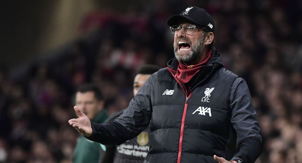 Liverpool's German manager Jurgen Klopp gestures during the UEFA Champions League, round of 16, first leg football match between Club Atletico de Madrid and Liverpool FC at the Wanda Metropolitano stadium in Madrid on 18 February 2020