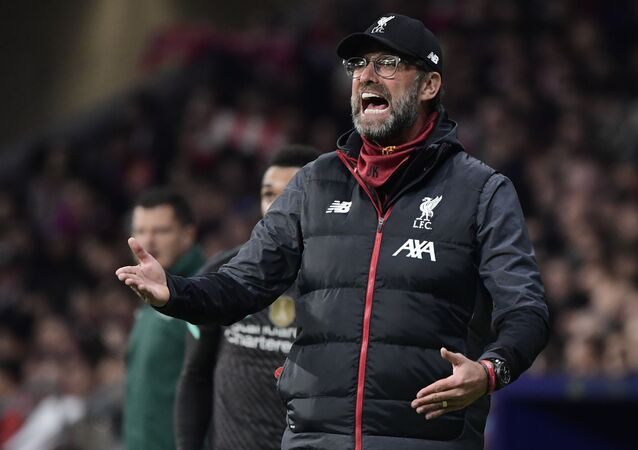 Liverpool's German manager Jurgen Klopp gestures during the UEFA Champions League, round of 16, first leg football match between Club Atletico de Madrid and Liverpool FC at the Wanda Metropolitano stadium in Madrid on February 18, 2020
