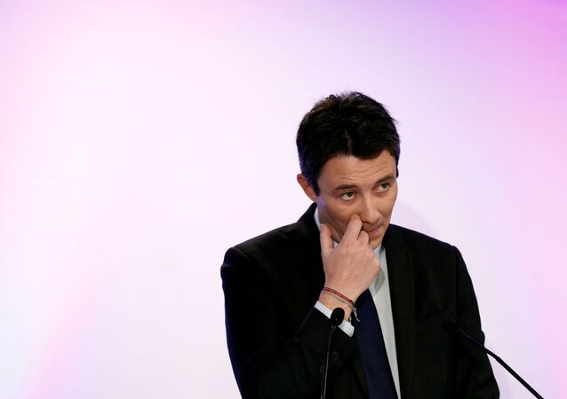 Former French government spokesperson and La Republique en Marche (LREM) candidate for the upcoming Paris 2020 mayoral election Benjamin Griveaux attends a news conference in Paris, France, February 5, 2020