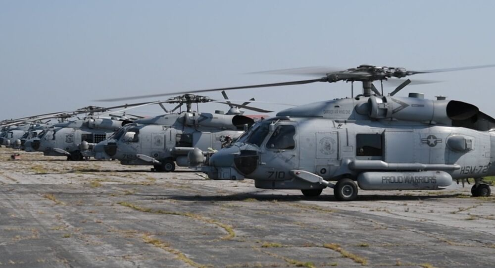 Navy MH-60R Helicopters from Naval Air Station Jacksonville and Naval Station Mayport return home after evacuating to Maxwell Air Force Base, Alabama, in advance of Hurricane Dorian Sept. 5, 2019