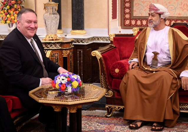 U.S. Secretary of State Mike Pompeo meets with Oman's Sultan Haitham bin Tariq at al-Alam palace in Muscat, Oman on February 21, 2020