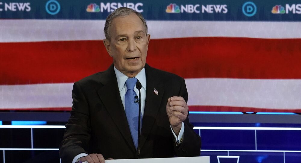 Former New York City Mayor Mike Bloomberg speaks at the ninth Democratic 2020 U.S. Presidential candidates debate at the Paris Theater in Las Vegas, Nevada, U.S., February 19, 2020