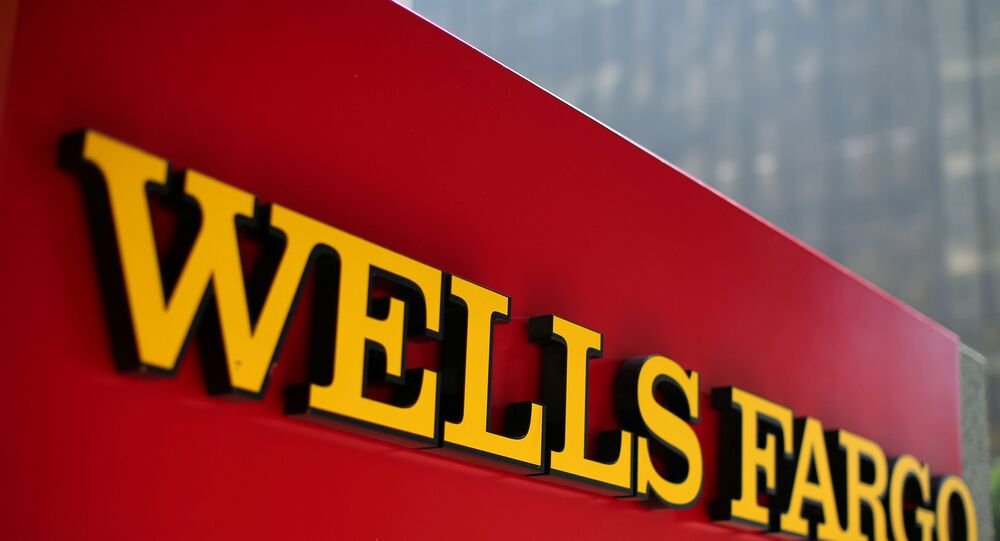 A Wells Fargo bank sign in downtown Los Angeles