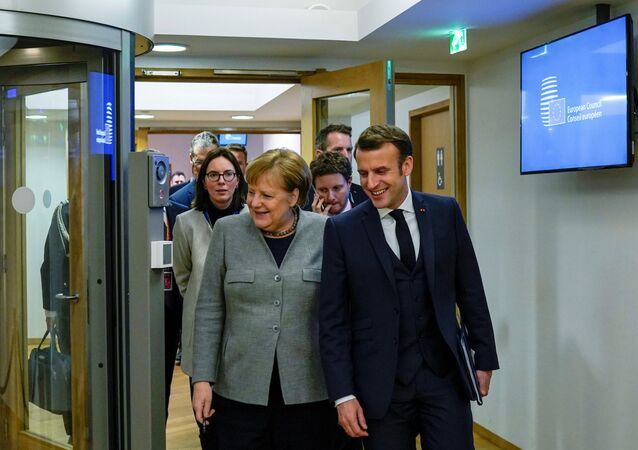 Germany's Chancellor Angela Merkel and France's President Emmanuel Macron in Brussels