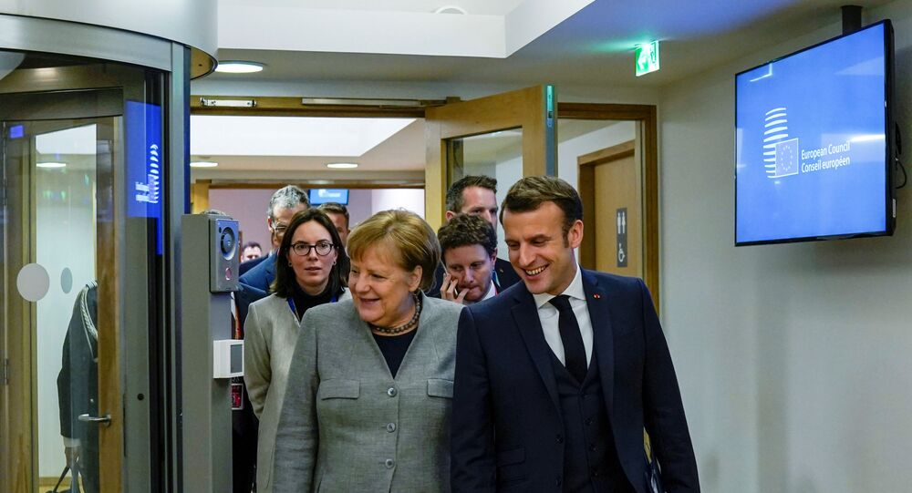 Germany's Chancellor Angela Merkel and France's President Emmanuel Macron in Brussels