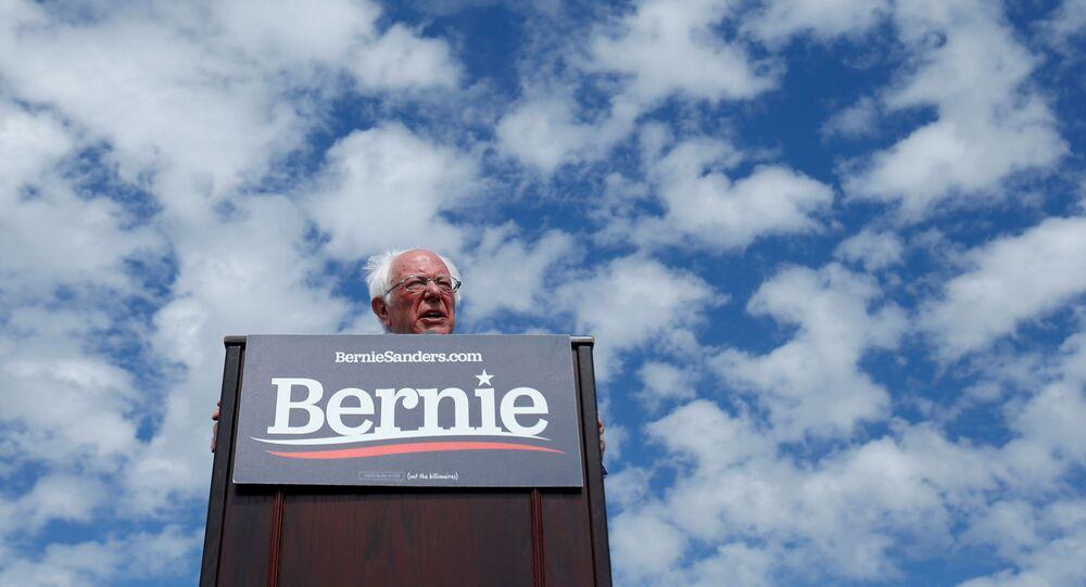Democratic U.S. presidential candidate Senator Bernie Sanders speaks during a Get Out the Early Vote campaign rally in Santa Ana, California, U.S., February 21, 2020