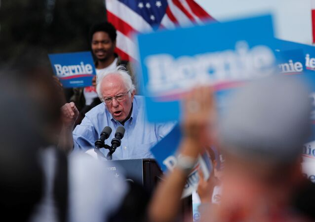 Democratic U.S. presidential candidate Senator Bernie Sanders speaks during a Get Out the Early Vote campaign rally in Santa Ana, California, U.S., February 21, 2020