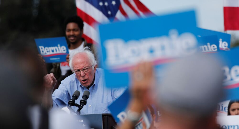 Democratic US presidential candidate Senator Bernie Sanders speaks during a Get Out the Early Vote campaign rally in Santa Ana, California, US, 21 February 2020