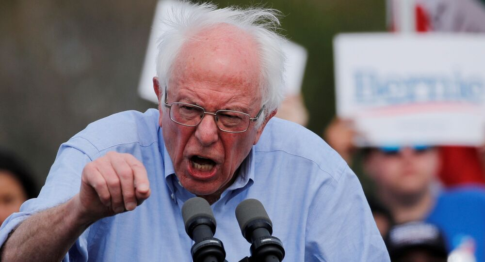 Democratic U.S. presidential candidate Sanders holds a campaign rally in Santa Ana, California