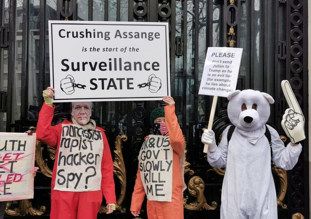 Assange-Backing Protesters Hold Banners in Support of WikiLeaks Founder - Photo