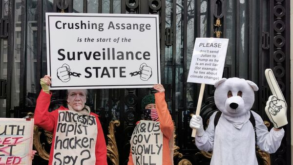 Assange-Backing Protesters Hold Banners in Support of WikiLeaks Founder - Photo - Sputnik International