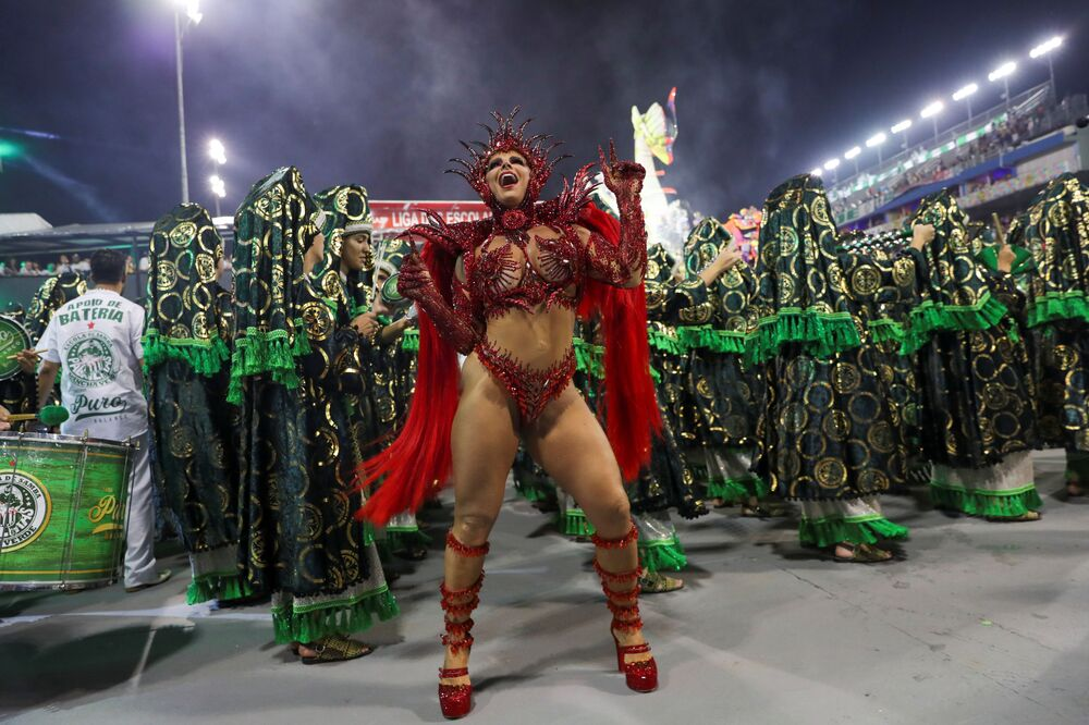 Drum queen Viviane Araujo from Mancha Verde samba school performs during the first night of the Carnival parade at the Sambadrome in Sao Paulo, Brazil, February 22, 2020.