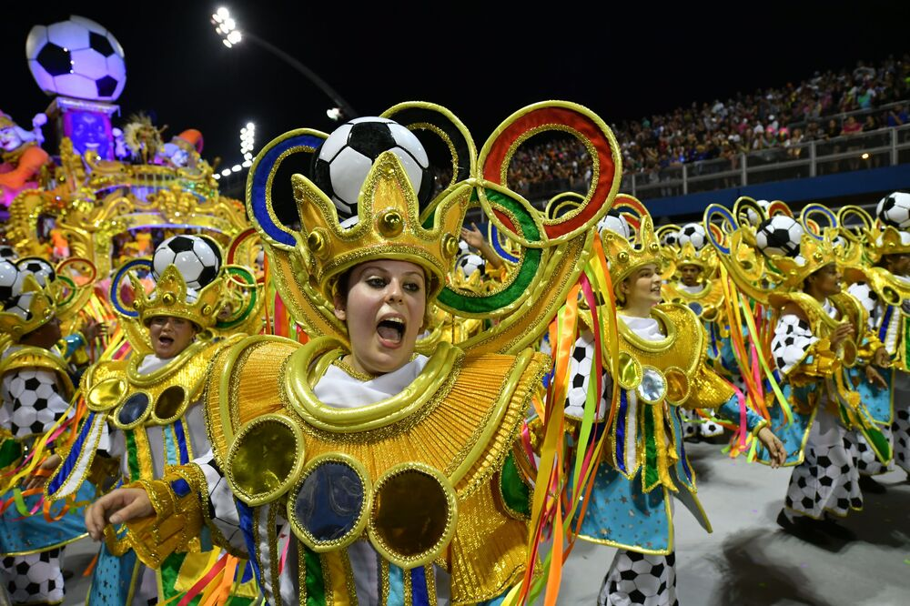 Revellers of the Tom Maior samba school perform during the first night of carnival in Sao Paulo Brazil at the city's Sambadrome early on February 22, 2020.