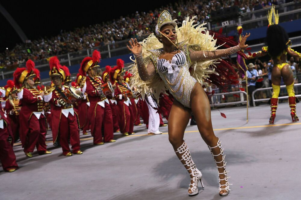 Revellers from Dragoes da Real samba school perform during the first night of the Carnival parade at the Sambadrome in Sao Paulo, Brazil, February 22, 2020.