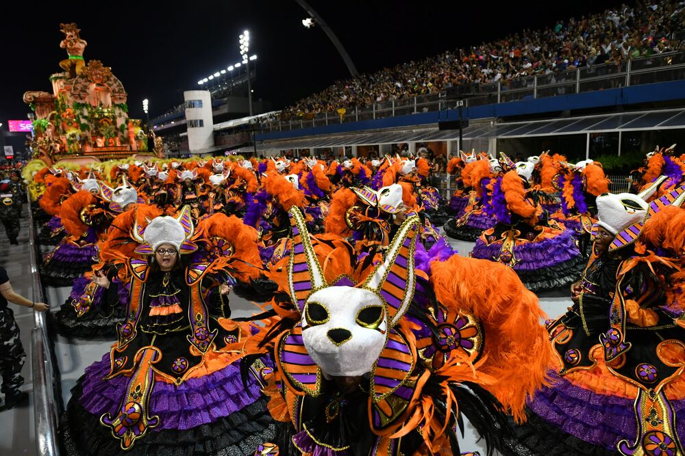 The Dragoes da Real samba school perform during the first night of carnival in Sao Paulo Brazil at the city's Sambadrome in the early hours of February 22, 2020.