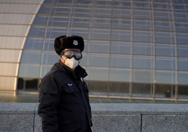 A security guard wearing goggles and a face mask is seen near the National Centre for the Performing Arts, following an outbreak of the novel coronavirus in the country, in Beijing, China February 22, 2020.