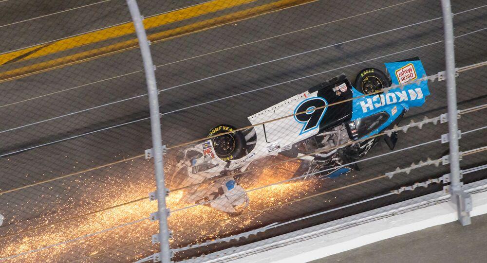 NASCAR Cup Series driver Ryan Newman (6) crashes on the last lap of the Daytona 500 at Daytona International Speedway, Feb 17, 2020