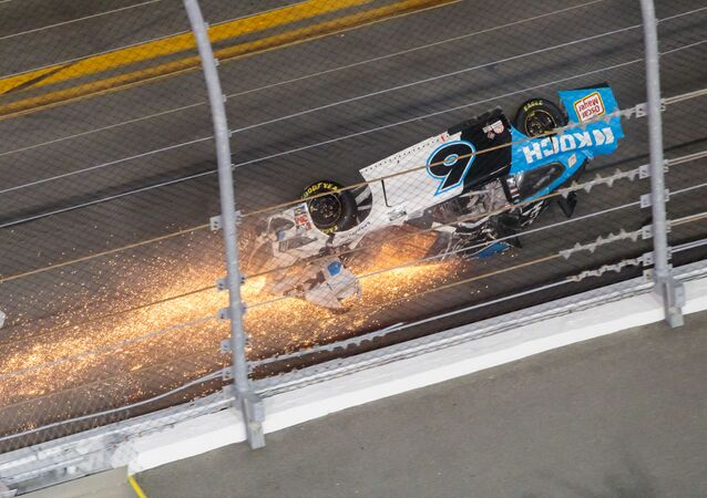 NASCAR Cup Series driver Ryan Newman (6) crashes on the last lap of the Daytona 500 at Daytona International Speedway, Feb 17, 2020