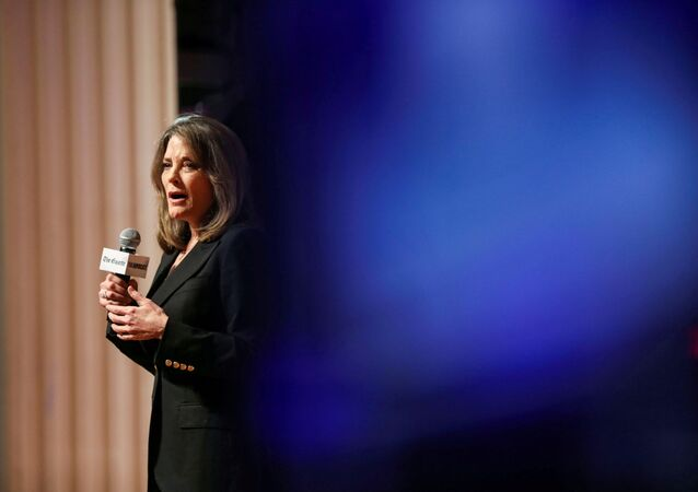 Democratic presidential candidate and author Marianne Williamson speaks at the One Iowa and GLAAD LGBTQ Presidential Forum in Cedar Rapids, Iowa, September 20, 2019
