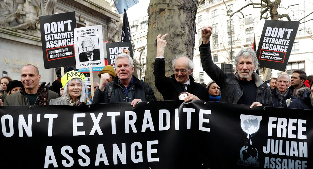 Former Greek Finance minister Yanis Varoufakis, fashion designer Vivienne Westwood, editor in chief of WikiLeaks Kristinn Hrafnsonn, Assange's Father John Shipton and singer Roger Waters attend a protest against the extradition of Julian Assange outside the Australian High Commission in London, Britain 22 February 2020.