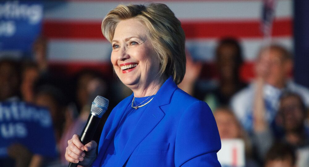 Hillary Clinton, then-Democratic presidential candidate, speaking at a campaign rally in Louisville, Kentucky in May 2016.