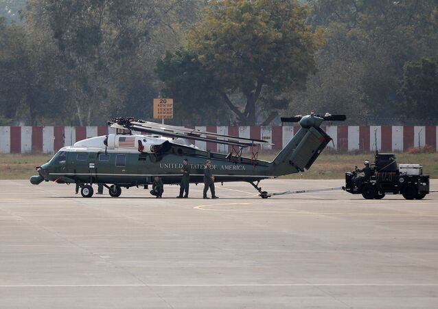 A U.S. military chopper sits on the tarmac after it was unloaded from a cargo aircraft at Sardar Vallabhbhai Patel International airport ahead of the U.S. President Donald Trump's visit, in Ahmedabad, India, February 19, 2020.