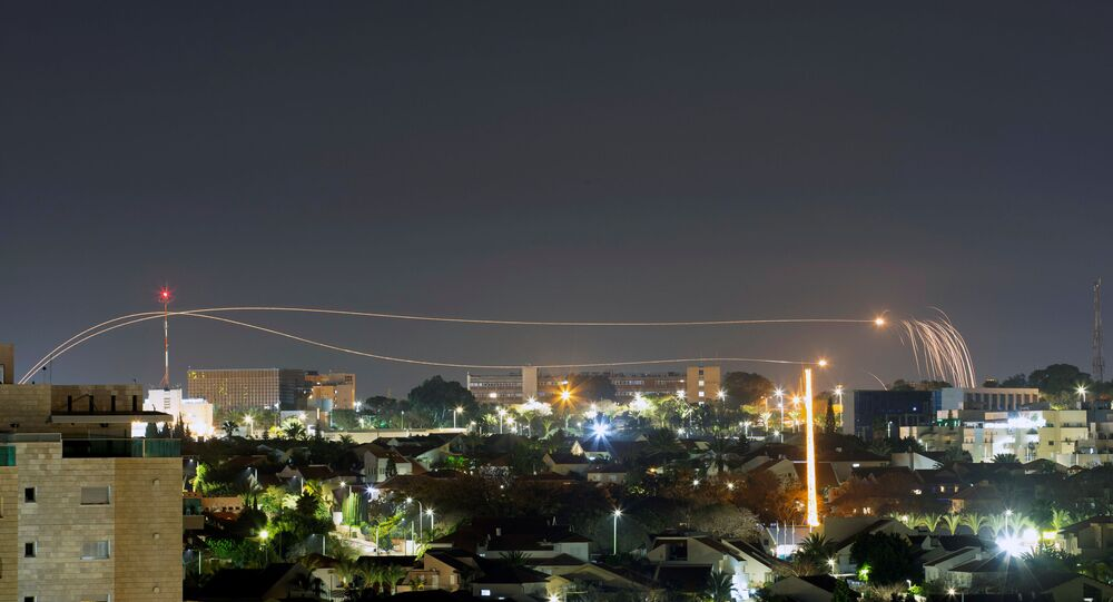 Iron Dome anti-missile system fires interception missiles as rockets are launched from Gaza towards Israel, as seen from the city of Ashkelon, Israel, February 23, 2020.