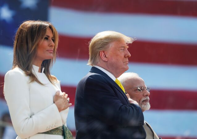 U.S. President Donald Trump and first lady Melania Trump attend the Namaste Trump event with Indian Prime Minister Narendra Modi